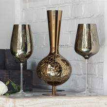 High end luxury wine set gold silver electroplated goblet crystal red model room decoration