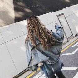 Kobiety rękaw nietoperz pomponem krótkie luźne zadziorów kurtka dżinsowa kobiet moda nowy boyfrieds znosić 2019 jesień Streetwear jean płaszcz 2