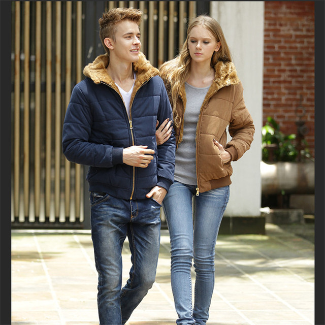 2015 Winter Plus Velvet Mink Coat Slim England Men's Jacket Young Men Down Cotton Thick Warm Coat M-3XL