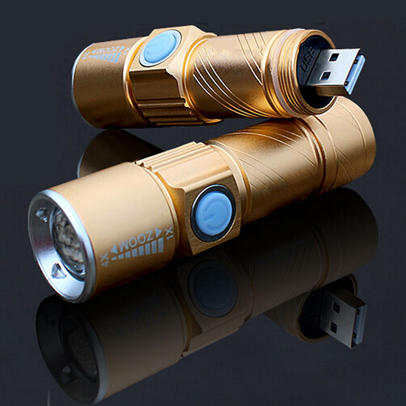 USB Handy LED Torch usb Flash Light Pocket LED Rechargeable Flashlight Zoomable Lamp For Hunting Black/Gold 2000lumens q5 led flashlight torch zoomable rechargeable led flash light with usb input output for fishing charger holder