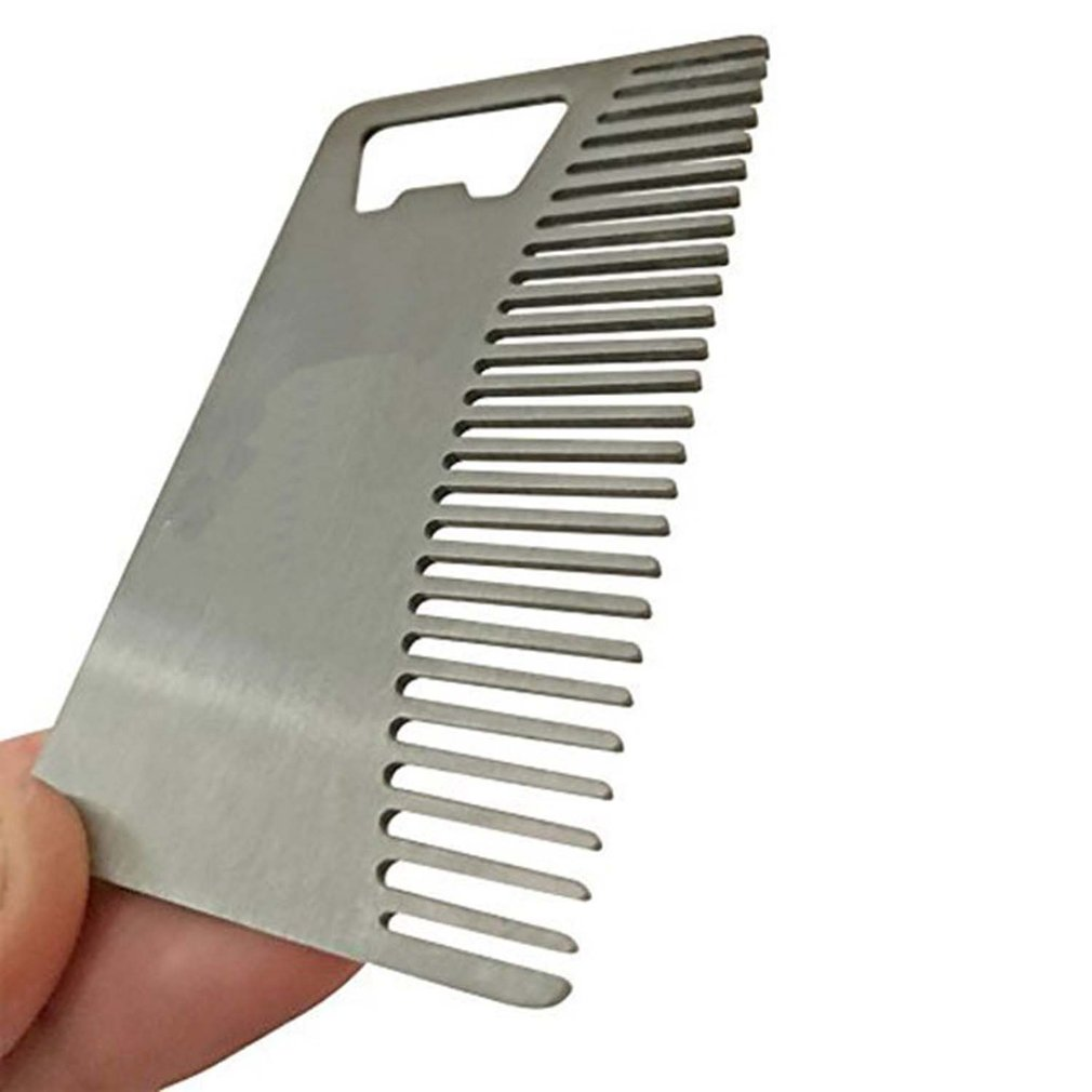 Metal Hair & Beard Comb With Bottle Opener Multi-purpose Credit Card Size Tool For Wallet And Pocket