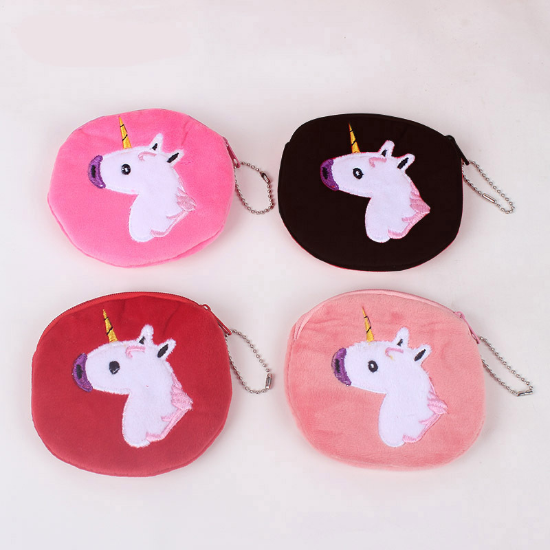 New Cute Style Colorful Unicorn Girls Zipper Plush Coin Purse Kawaii Children Coin Purse Women Wallet Mini Handbag xydyy cute 3d red apple prints women plush coin purse mini zipper kids coin purse girls christmas fruit pouch purse for gift