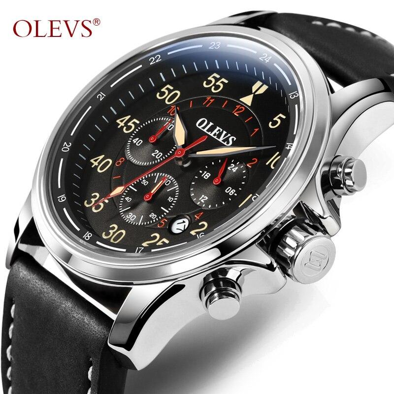 OLEVS De Luxe Militaire Montre À Quartz Pour Hommes Grand Cadran Bracelet En Cuir Chronographe Date Étanche Sport Aviator Montre-Bracelet 6868