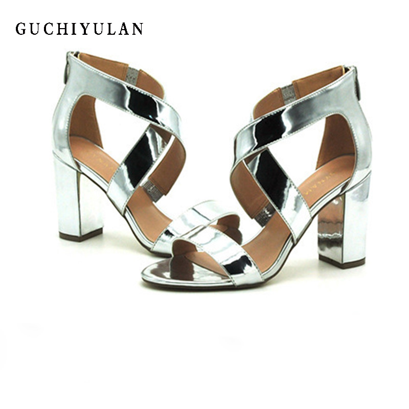 escarpin plateforme sandale Woman New Summer Open Toe Women Glitter High Heel Ankle Strap Party Wedding Platform Women Sandals plateforme