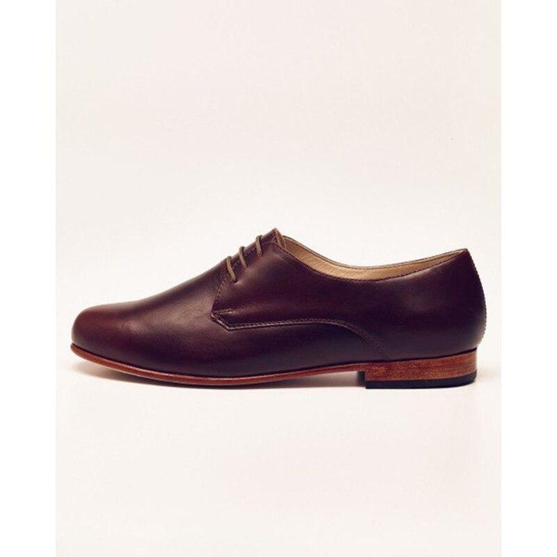 Maroon frauen Oxfords Lace up Wohnungen Vintage Kleid Schuhe Patent Leder Spitz Casual Braun FSJ Größe 16