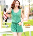2016 New woman rompers shorts summer casual jumpsuit for women sleeveless elegant overalls bodysuits green,dark blue M,L,XL