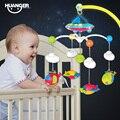 Huanger 0-12months bebé campana de la cama 0-1 años de edad recién nacido juguete soporte de música giratoria colgante del traqueteo del bebé fijaron cuna móvil titular