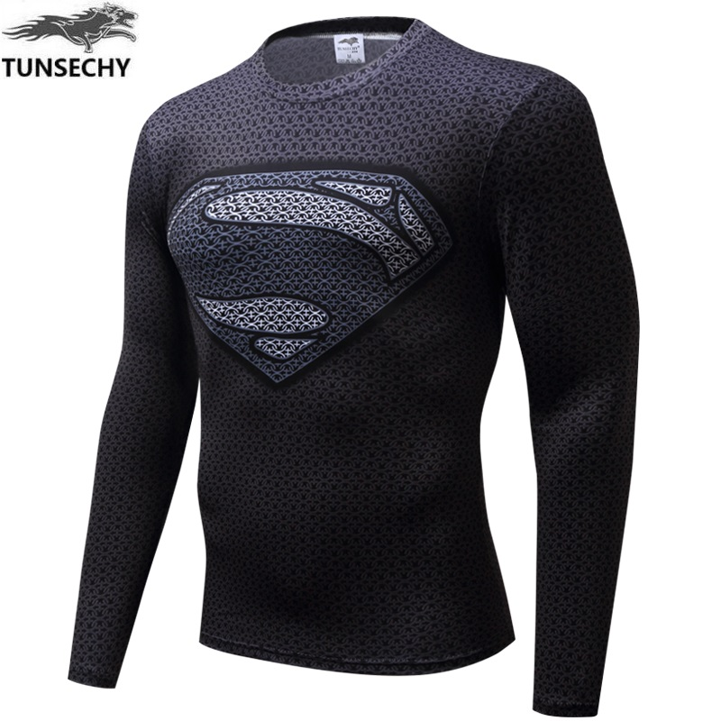 TUNSECHY Spiderman Superman Captain America Compression T-shirt Superhero Soldier Marvel Comics T-shirt Wholesale and retail