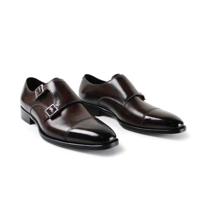 2017 Italia Pria Sepatu Datar Vintage Retro Kustom Mens Biksu Mewah Coklat  Desain Pesta Pernikahan Bisnis f79b1e5d98