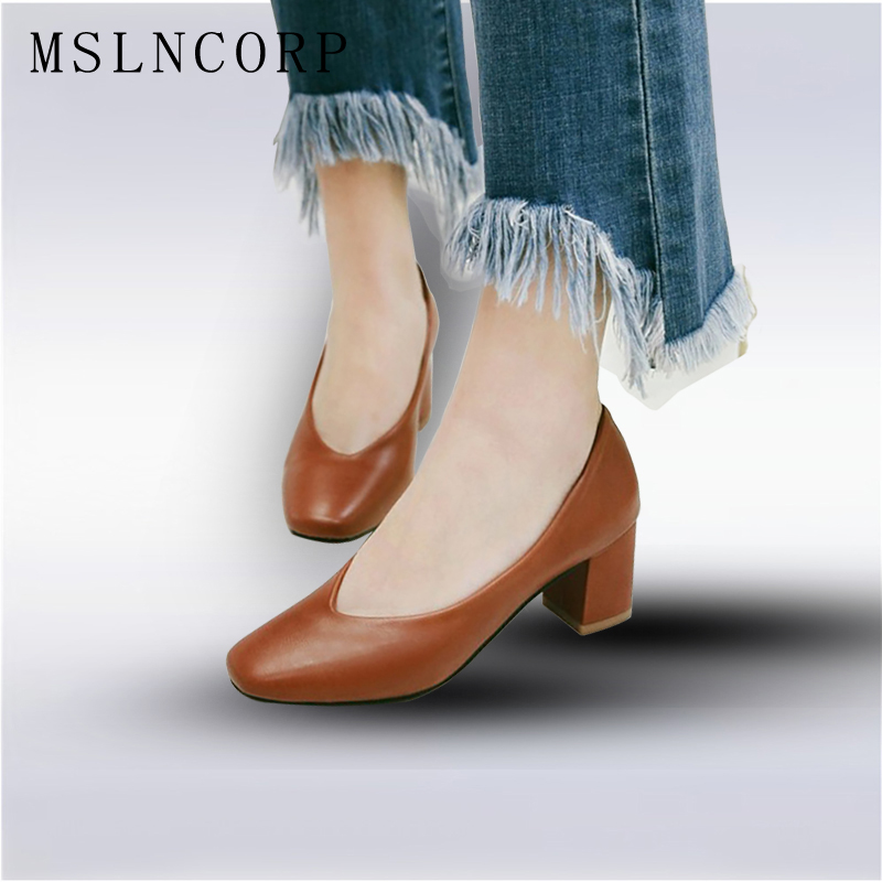 plus size 34-43 New High Heels Pumps Fashion Soft Leather Dress Square Toe Women Shoes slip-on Office Career Pumps Free shipping lady glitter high fashion designer brand bow soft flock plus size 43 leisure pointed toe flats square heels single shoes slip on