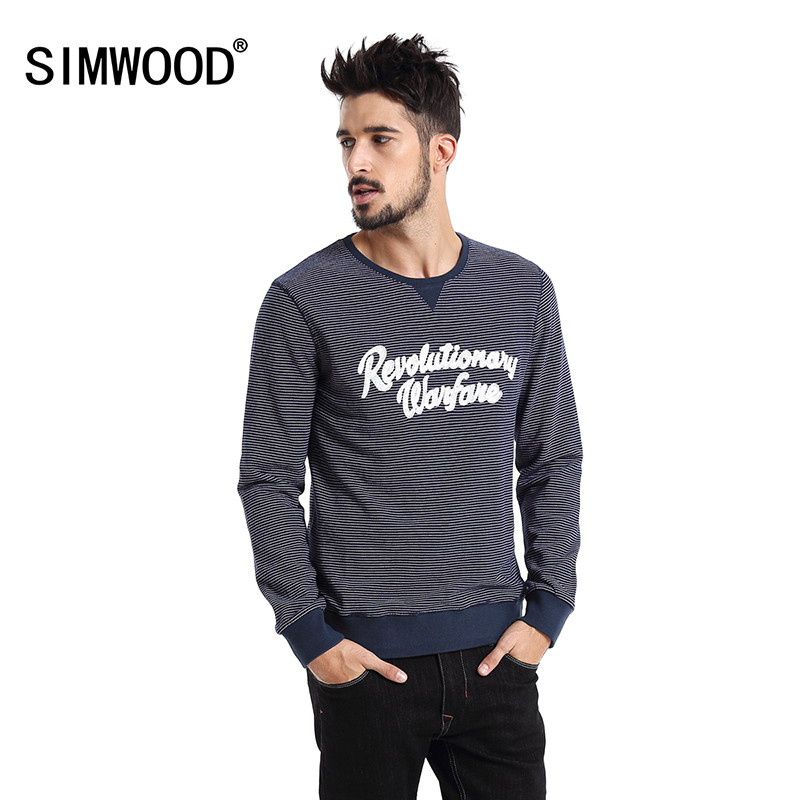 Simwood Brand 2016 New Men Hoodies Spring Winter Fashion O-neck Slim Fit Striped Letter Pullover Sweatshirts Free Shipping