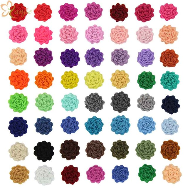 """60pcs/lot New Arrival Chic 1"""" Tiny Felt Flower without clips Hair Accessories 2017 For Kids Hair pin for Infantile DIY Headbands"""