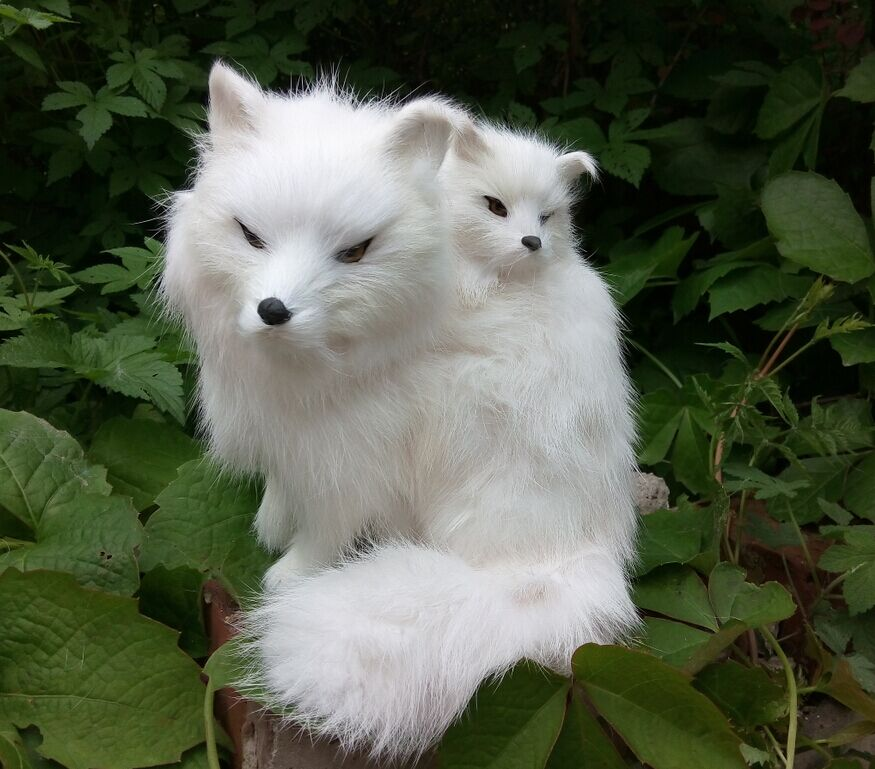Artificial fox decoration arctic fox gift mother and son fox props