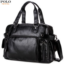 1f44ec81f880 VICUNA POLO Large Capacity Men Travel Bags Black Leather Men s Handbag  Weekend Duffle Shoulder Bag Large Capacity Suitcase Bags