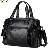 VICUNA POLO Large Capacity Men Travel Bags Black Leather Men's Handbag Weekend Duffle Shoulder Bag Large Capacity Suitcase Bags