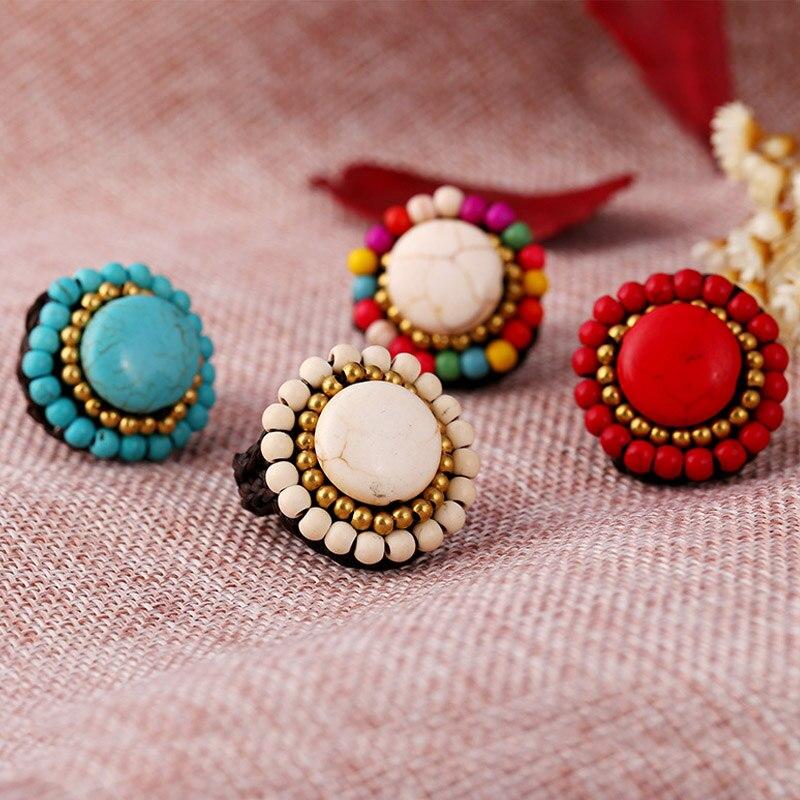 Женские регулируемые кольца с натуральным камнем, богемные этнические кольца 4 цветов в стиле бохо, ручная работа, модные ювелирные украшен...