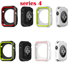 Sports Silicone Cover Frame Soft Rubber Full Protector Protective Case For Apple Watch For iwatch 4/3/2/1 38mm 42MM  40mm 44mm pc cover case for apple watch 3 2 1 42mm 38mm iwatch series watch case colorful plating full frame protective case armor shell