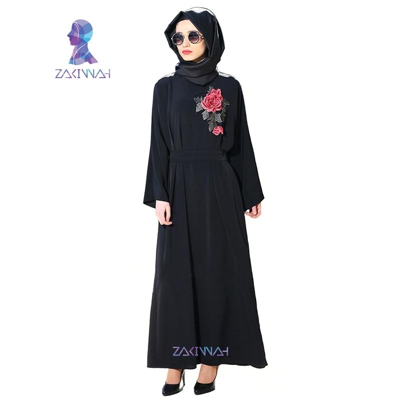 Nouvelles femmes manches longues noir Dubai robe musulmane maxi abaya - Vêtements nationaux - Photo 1
