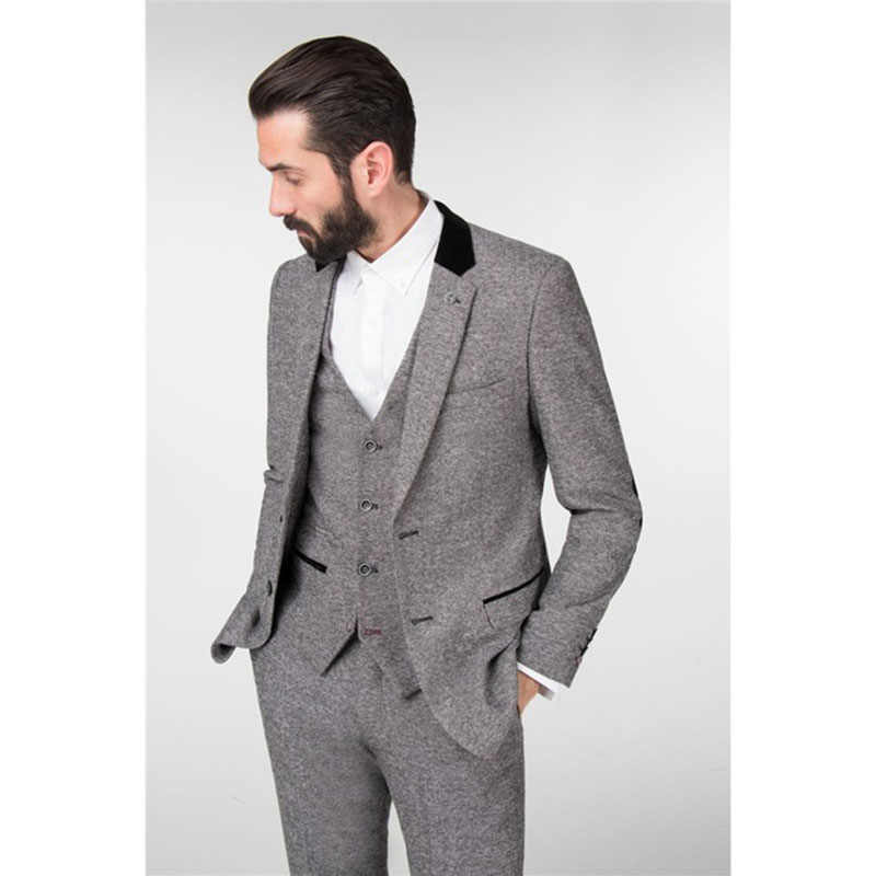 163abfcf326e 2017 последние конструкции пальто брюки Зима Светло-серый Твид мужской  костюм Slim Fit 3 предмета