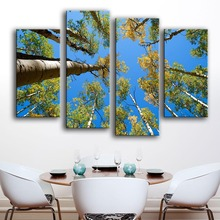 New Product Modern Canvas Unframed Print Painting Wall 4pc Trees Crown The Top Of Nature Art Picture For Living Room