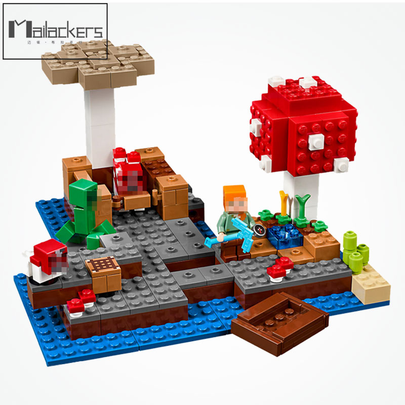 Mailackers 21129 Legoing Minecraft Figure Blocks Steve The Mushroom Minecrafted Island Minecrafts Legoings D824 Toy For Children