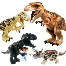 Jurassic Dinosaur world Figures Tyrannosaurs Rex Building Blocks Compatible With LegoINGS Dinosaur Toys For Children BKX92 все цены