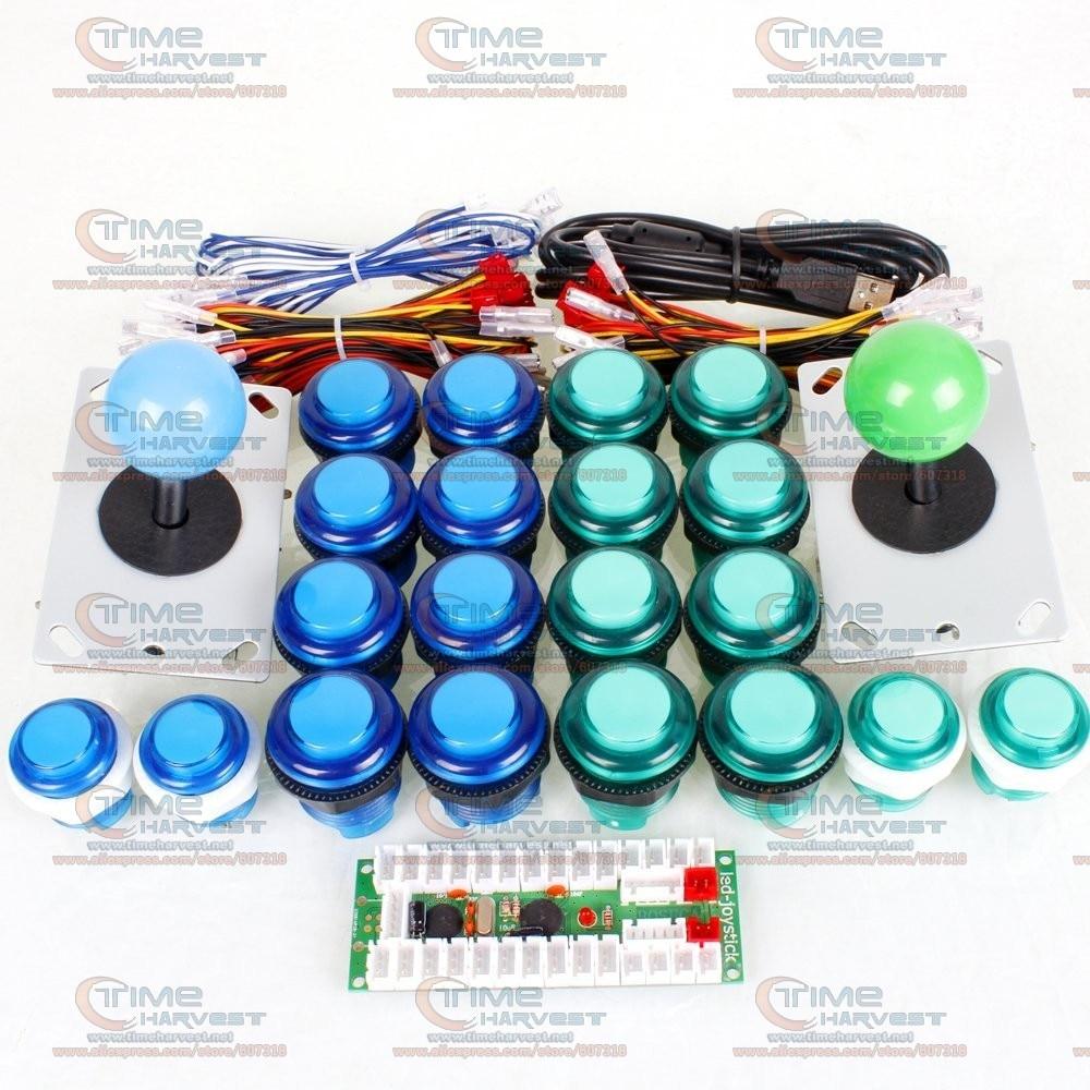 Arcade Joystick DIY Kits with 2 Player USB LED Encoder 8 Way Joystick Controllers +5V LED Illuminated Push Button for Game MAME