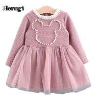 Autumn 2017 New Brand Baby Kids Girls Cartoon Pearl Minnie Pattern Long Sleeve Gauze Lace Princess