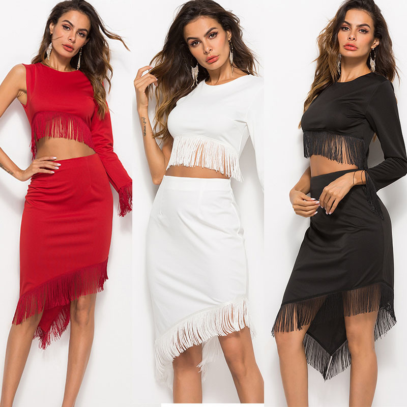 women white dress Autumn tassel Irregular Navel Solid Color party bodycon black long sleeve one shoulder dresses