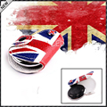 (1) Red Blue Union Jack UK Flag Style Real Leather Key Fob Cover Holder For 2008-up MINI Cooper R55 R56 R57 R58 R59 R60 R61 F55