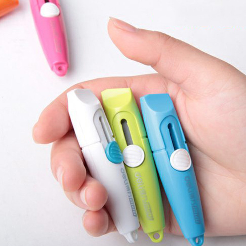 Creative Mini Colored Utility Knife Pocket Retractable Paper Box Art Cutter Letter Opener For Homemade Kids Gift DIY Stationery