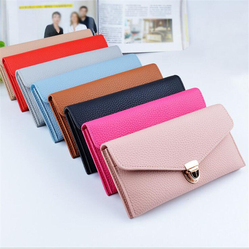 2016 New Ladies Leather Wallet Women Wallets Purses Soft Large Hasp Long Vintage Credit Card Lady Handbag Thin Card Holder Bag casual weaving design card holder handbag hasp wallet for women