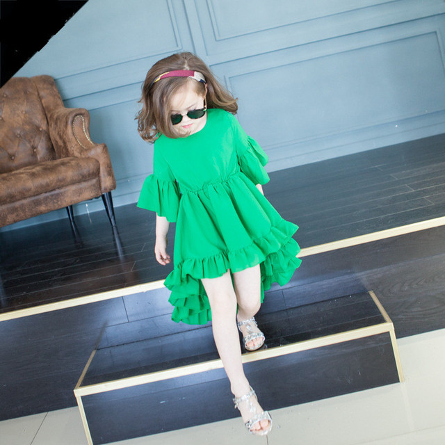 2016 summer baby girls floral ruffle dress kids irregular trim dresses half sleeve dress kids fashion beach dresses
