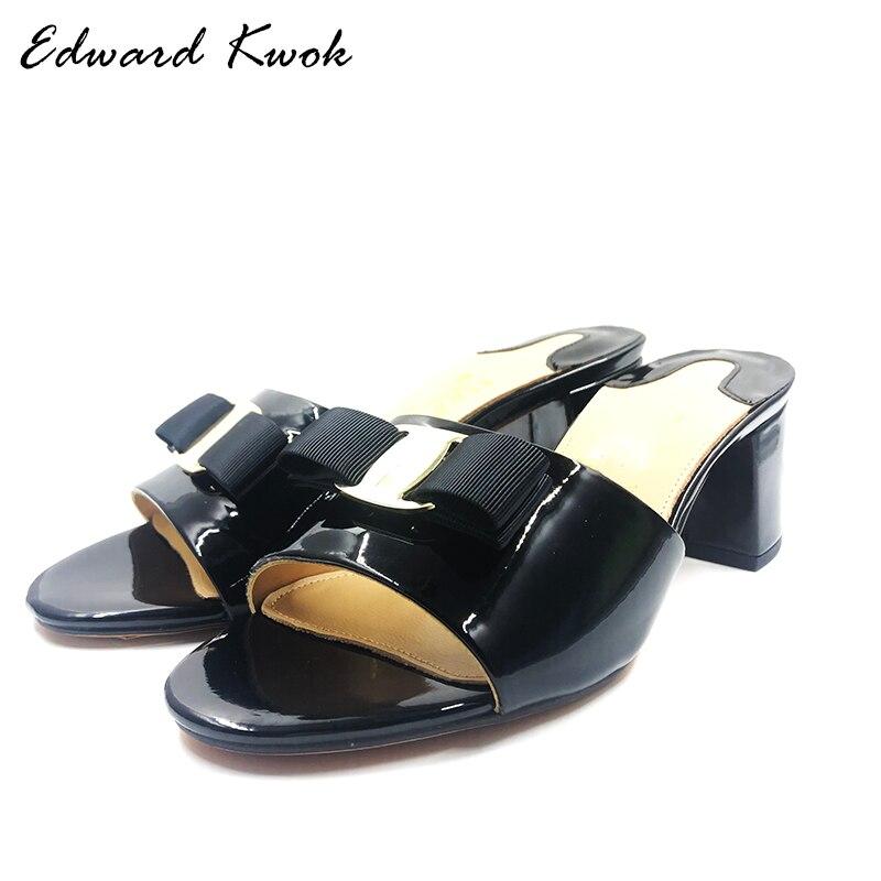2018 été en cuir véritable femmes noeud papillon Designer pantoufles talons hauts sandales chaussures DA047