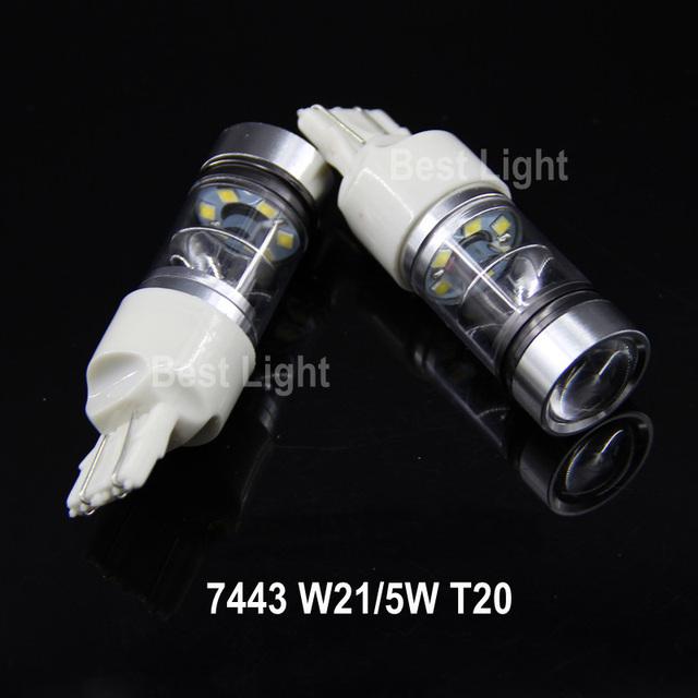 2x t20 w21/5 w 7443 chips da sharp led stop/cauda lâmpadas luzes de freio para toyota highlander, rav4, corolla, crown, camry, prius, reiz, vios