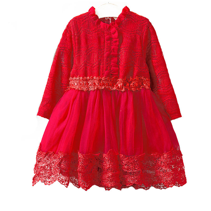 Necolleo New Girls Dress Long Sleeve Kids Dress for Autumn Children Princess Lace Flower Girls Clothes Red Color Girls Costues girls europe and the united states children s wear red princess long sleeve princess dress child kids clothing red bow lace