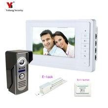 Yobang Security Freeship 7 Inch LCD Monitor video intercom door bell video door phone +Electric lock door bell intercom