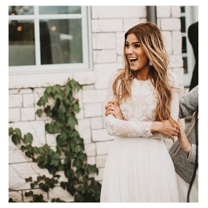 Image 3 - LORIE Boho Long Sleeve Wedding Dress 2019 Robe de mariee Vintage Lace Top New Bridal Dress Puffy Chiffon Wedding Dresses