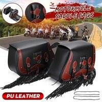 Pair PU Leather Motorbike saddlebags Motorcycle Side Tool Tail Bag Storage Luggage Saddle Bags Universal