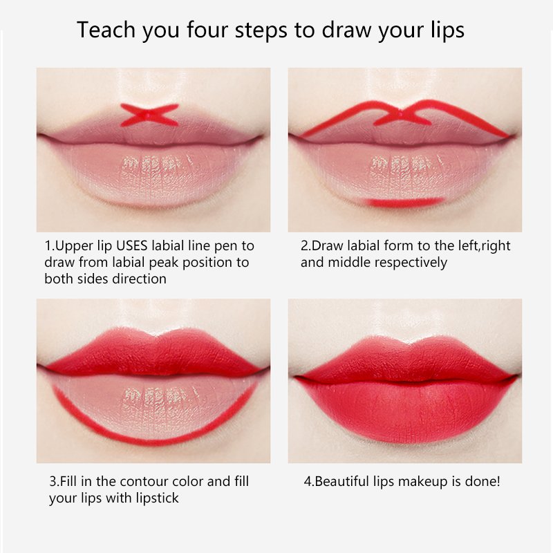 Teach you four steps to draw your lips