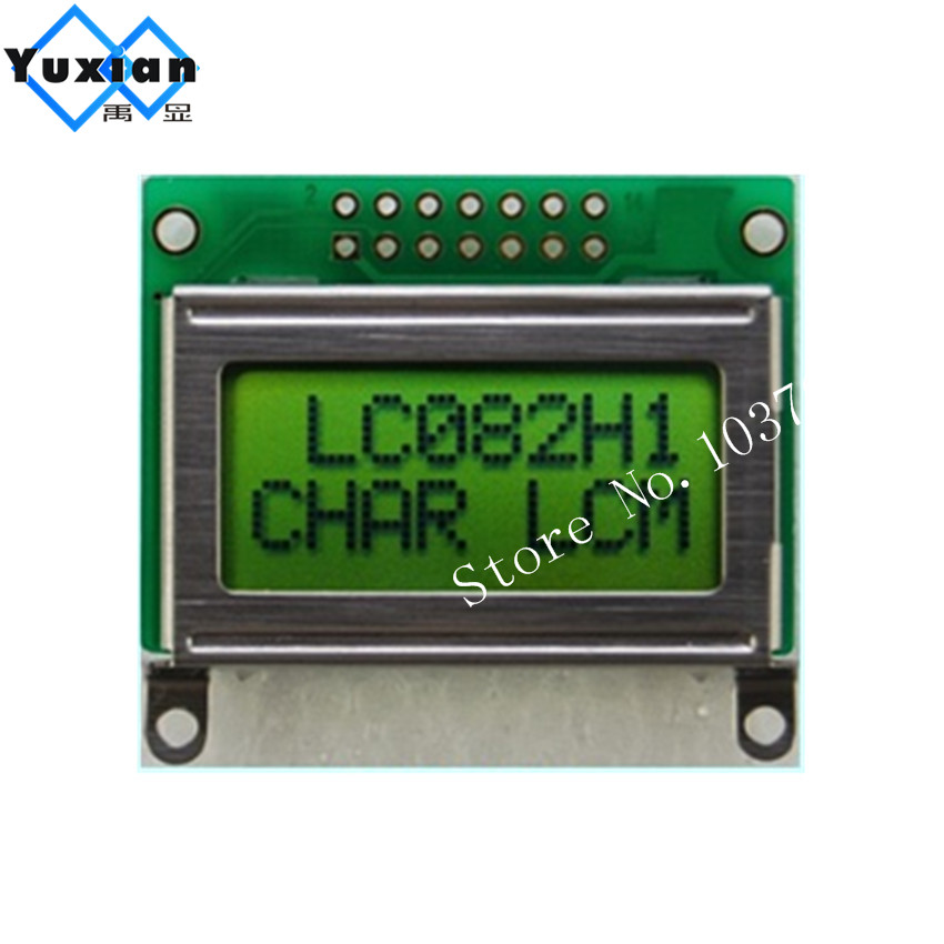 high quality mini size 8x2 0802 LCD LCM display STN yellow green screen LC082H1 without backlight HD44780 SPLC780D1 5PCS