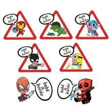 Забавные испанская детская настольная игра автомобиля Стикеры креативные милые Цвет супер герой Водонепроницаемый Стикеры для окна автомобиля хвост Предупреждение знак наклейка