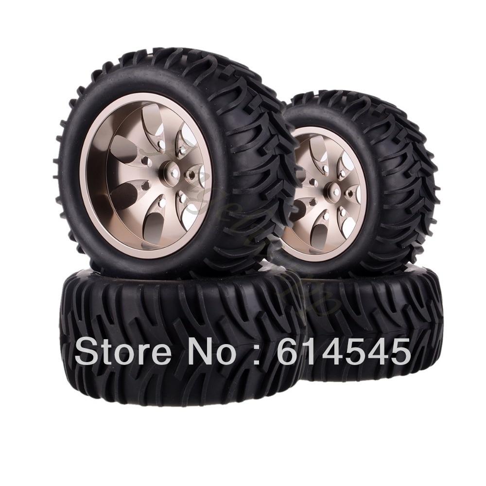 4xRC Monster Truck Bigfoot Metal 1:10 Wheel Rim & Tyre Tires 12MM HEX 88113 4pcs metal red beadlock wheel rim