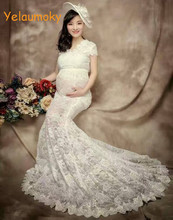 short sleeve pregnancy lace dress maternity photography props long lace dress pregnancy clothes maternity garments [Yelaumoky]