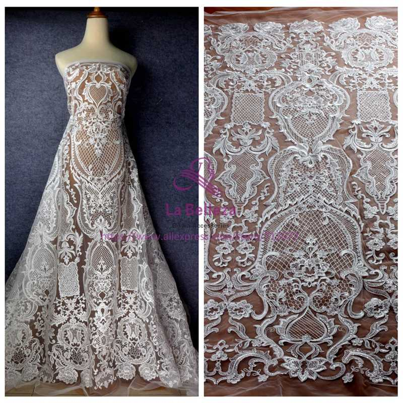 La Belleza New heavy cord lace fabric clear shine sequins cord on net  embroidery wedding dress dd50fe25c453