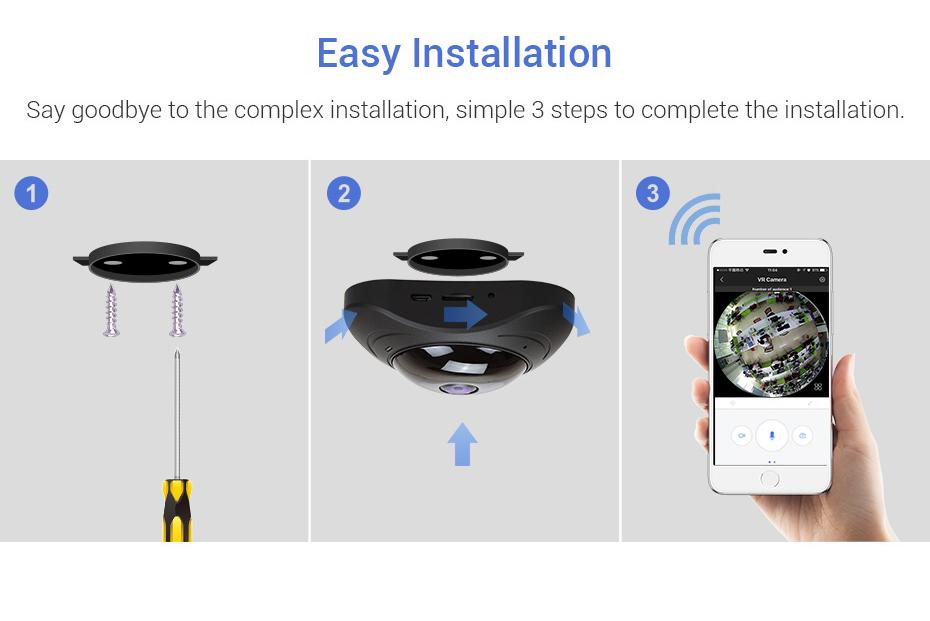 H.VIEW 360 CCTV Camera 720P IP Camera Wifi Cameras 960P Camara IP 1200TVL Fisheye Video Surveillance Cameras (5)