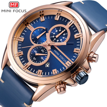 MINI FOCUS Fashion Men Watch Leather Strap Men Sports Watches Mens 2019 Luxury Brand Men's Wristwatch Quartz Business Male Clock