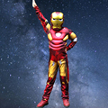Red Iron Man Avengers Halloween Costume for Kids Muscle Jumpsuits Mask Children Boys Clothes Superhero Cosplay Clothing