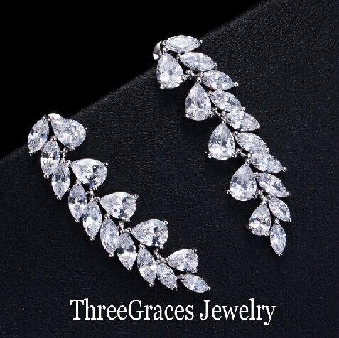 Elegant Female Cz Jewelry Long Leaf Shape Cubic Zirconia Synthetic Diamond Dangling Drop Earrings For Women Dress Er068 In From