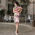 Hot Sale Women's Cheongsam Genuine Silk China Qipao Chinese Traditional Evening Dress Summer Short Qipao Dress For Sale
